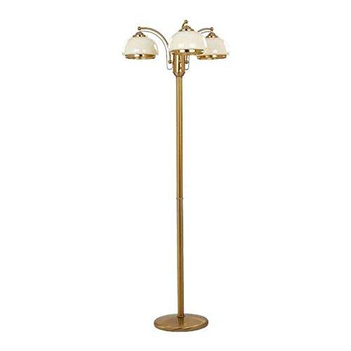 Beige Glasschirm (Jugendstil Stehlampe 3-flammig Höhe 150cm Glasschirm Beige Metallverzierungen Wohnzimmer Standlampe in Gold)