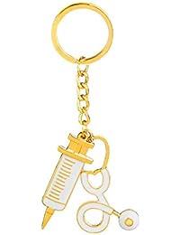 Keychain Home Jeringa Estetoscopio Colgante Llavero Moda diseño Encantador Encantador Llavero Enfermera Doctores Regalos