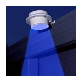 4pcs 3 blue led solar powered lights fence gutter light outdoor garden wall lobby pathway lamp
