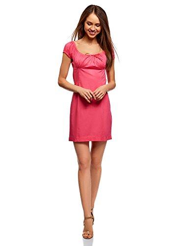 oodji Ultra Damen Baumwoll-Kleid mit Raffungen auf der Brust, Rosa, DE 38 / EU 40 / M