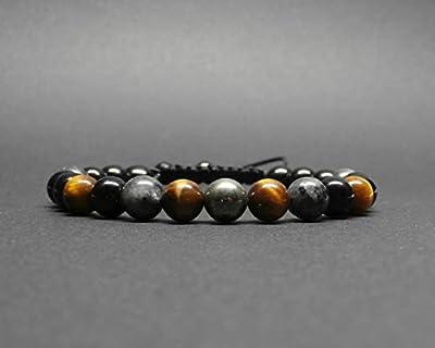 Bracelet homme, pierres gemmes, labradorite noire, pyrite, onyx, œil de tigre, Ø 8 mm