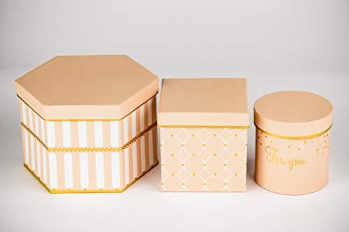 DECORPRO 3er Set Geschenkschachteln in Verschiedene Formen und Muster, Rund, Quadratisch, 6-Eckige Dekoboxen, Blumenbox, Dekoschachteln mit Aufschrift und Deckel,