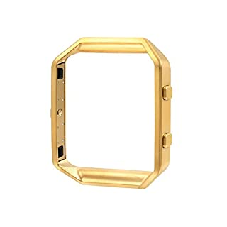 AFISC Stainless Steel Frame Metal Clasp for Fitbit Blaze Tracker Smart Watch 23mm, Gold