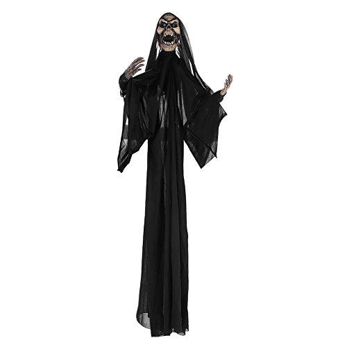 Halloween kostüm mit Kapuze Maske Dämon Teufel zombie Fasching Unisex für Damen und Herren Jungen Jugendliche Halloween Mantel vampir umhang für Karneval Party Erwachsener Cosplay Schwarz und Weiß