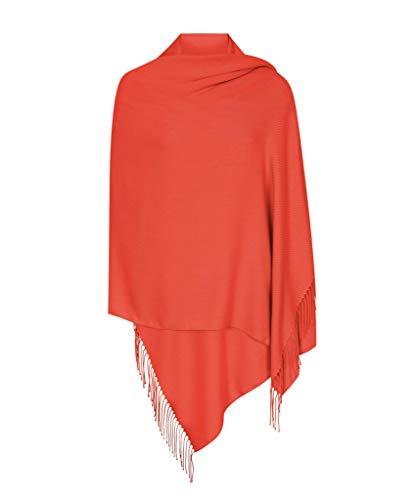Mandarin Rot Hergestellt in Italien (37 Schöne Farben Erhältlich) Pashmina Schal Stola Umschlagtücher Tuch für Damen - Super Weich – Exklusiv von Pashminas & Wraps aus London