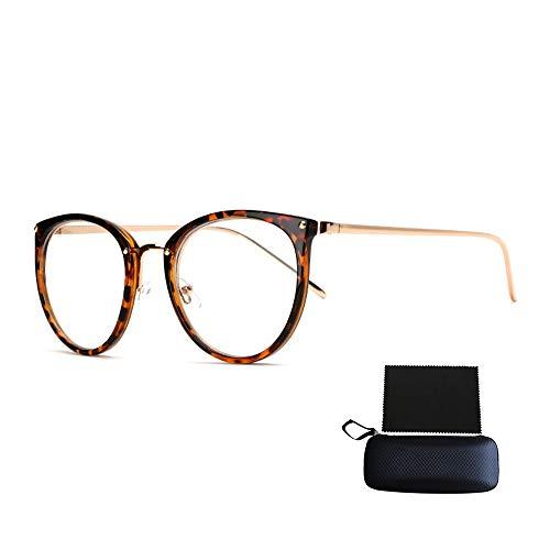Simshew Brillengestelle Nerd Brille Retro Runde Unisex Dekorative Brille Klassische Mode Damen/Herren Eyewear Schön (Color : Leopard)