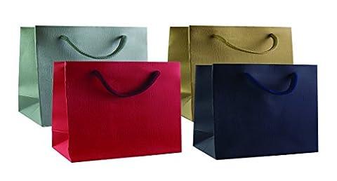 Emartbuy Lot de 4 Sacs-Cadeaux de luxe en Papier Laminé Solide 300 g/m2, Format Paysage, Finition Mate, Taille 2XL, Mix de Couleurs