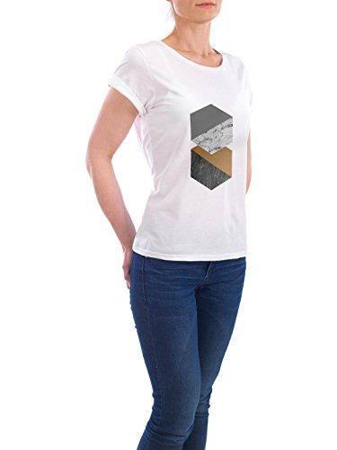 """Design T-Shirt Frauen Earth Positive """"Marble Twin Octagon"""" - stylisches Shirt Geometrie von Paper Pixel Print Weiß"""