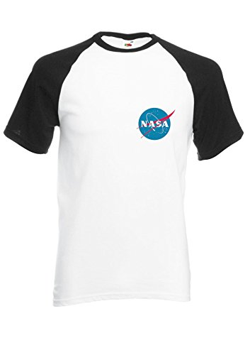 Nasa National Space Packet Pocket America Black/White Men Women Unisex Shirt Sleeve Baseball T Shirt-M