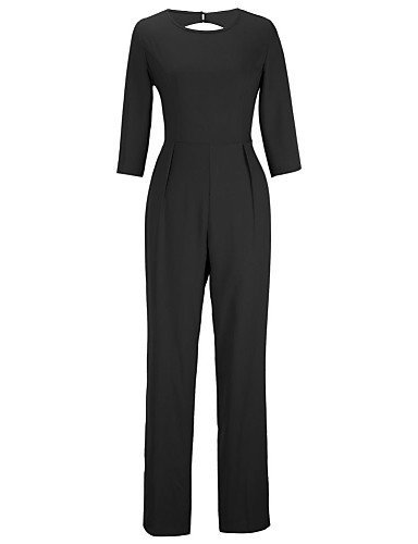 GSP-Combinaisons Aux femmes Manches ¾ Vintage/Sexy/Plage/Décontracté/Soirée/Travail Spandex/Polyester/Mélanges de Coton Fin Micro-élastique black-2xl