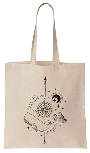 Finest Prints Stylish Compass With Whale And Pyramids Showing The Whole Universe Cotton Canvas Tote Bag