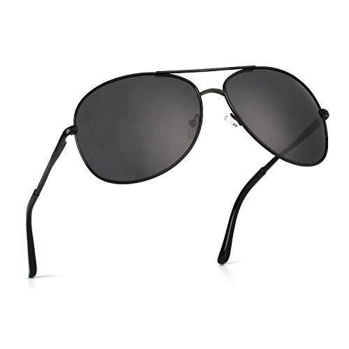 CGID Polarisierte UV400 Schutz Prämie Al MG Metall Rahmen Pilot Sonnenbrille Pilotenbrille Für Herren GA61, 6 Black Grey,