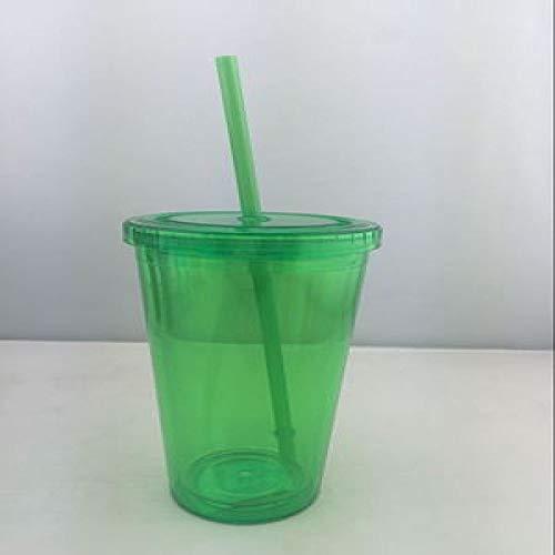 JIAOJIAN 450ml Plastik Eisbecher Becher doppelt eiskaltes Getränk Tasse kreative Stroh Tasse Erwachsene Kinder Tasse Grün 450ml