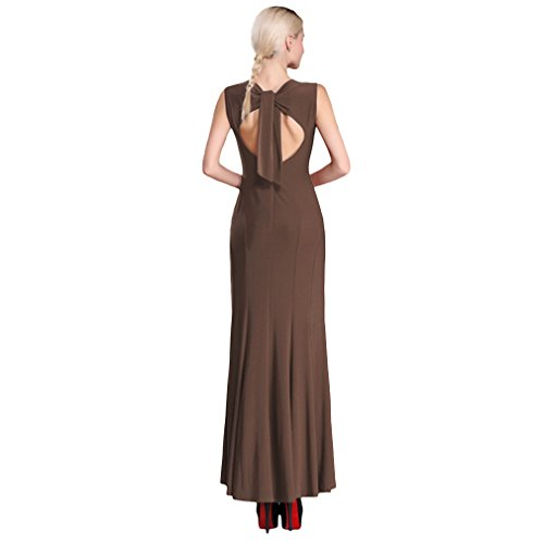 La vogue Damen Kleid Abendkleid Partykleid Business Slim Fit Maxi Cocktail Braun