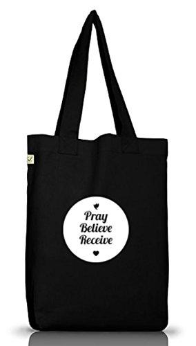 Shirtstreet24, Pray Believe Receive, christlicher Jutebeutel Stoff Tasche Earth Positive (ONE SIZE) Black