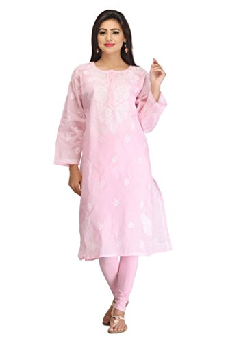 ADA Hand Embroidery Chikankari Casual Wear Kurti Kurta for Women Pink Cotton...