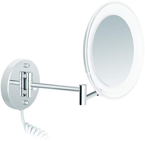 Nicol Kosmetik-Wandspiegel Maria LED 5-Fach Vergrößerung, schwenkbar, Acrylrand in zeitlosem...