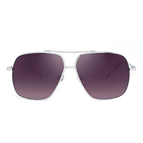 Oversize Flieger Sonnenbrille Gradient Klar Linse Pilot Metall Gläser Damen Herren(Silber/Grau)