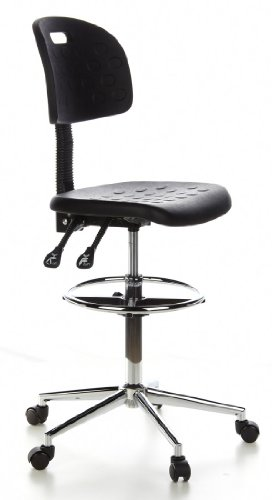 For Sale hjh OFFICE, 665060, Counter chair, draughtsman chair, TOP WORK 23, black, foam, high rise task chair, ring footrest height adjustable, Padded seat,  chrome-plated steel base with pressure-activated castor wheels and stands Reviews