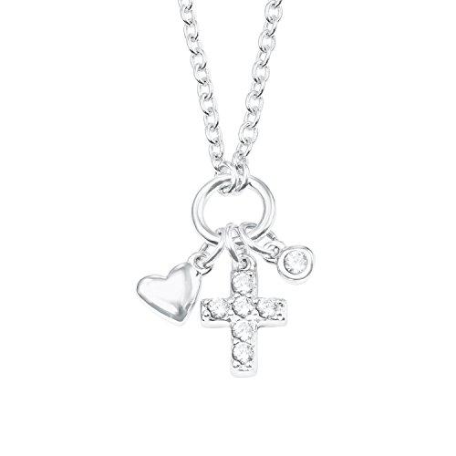 s.Oliver Mädchen Kette mit Herz- und Kreuz-Anhänger Sterling Silber 925 Zirkonia (synth.) rhodiniert 37+3cm