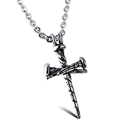 MingXinJia Titan Stahl Casting Anhänger Nägel Kreuz Persönlichkeit Halskette Urlaub Geschenke, Stehlen