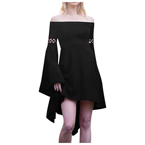 Oksea Damen Langarm Mittelalter Kleid Gothic Retro Schulterfreies Kleid Renaissance Cosplay Kostüm Prinzessin Kleid Lange Abendkleid Kleid Weihnachts Karneval Party