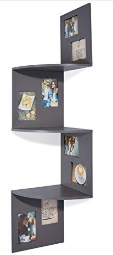 levandeo Deko Eckregal 98,5 cm Hoch Dekoregal Grau Bilderrahmen Wanddekoration Collage Regal Rahmen
