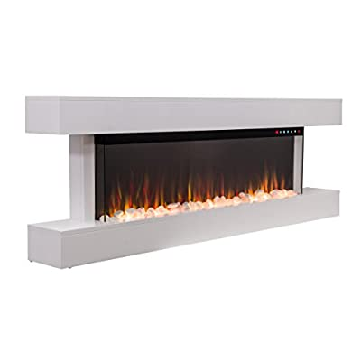 2018 New Premium Product 60inch White Wall Mounted Electric Fire Suite with 10 Colour Flames and Mantel (Pebbles, Logs and Crystals)