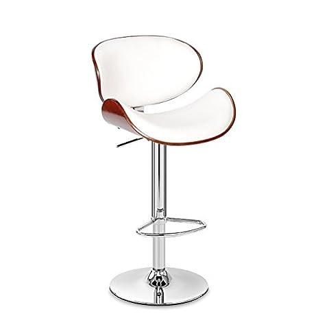 Wood Barstool Chair Walnut Bentwood Faux PU Leather Adjustable Barstools