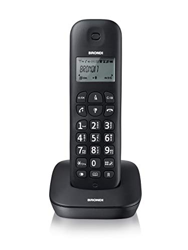 Brondi Gala Telefono Cordless, 1880 MHz/ 1900 MHz, Nero