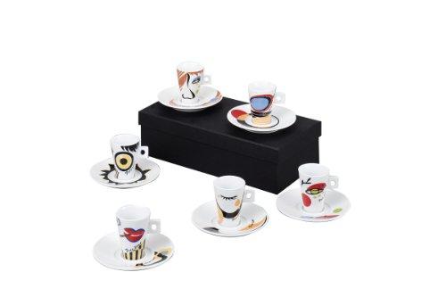 Zeller 26505 Faces - Juego de tazas de café (12 piezas, porcelana), diseño de caras