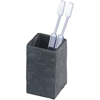 Wenko 17920530 Zahnputzbecher Slate Rock - Zahnbürstenhalter, Schieferoptik, Polyresin, 6.4 x 10.5 x 6.4 cm, Anthrazit