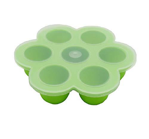 Silikon-Eier Bites Formen Instant Pot Zubehör, passend für Instant Pot 5,6,8 qt Schnellkochtopf, 7 Tassen Baby Food Storage Gefrierschalen mit Silikon Clip-On Deckel (7 Tassen grün - 1 Pack)