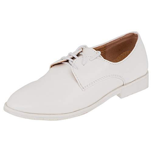 Cherine Innen Leder Festliche Kinder Jungen Anzug Schuhe für Hochzeit Kommunion Feier M561ws Weiß 32 EU (Jungen Für Kommunion Schuhe)