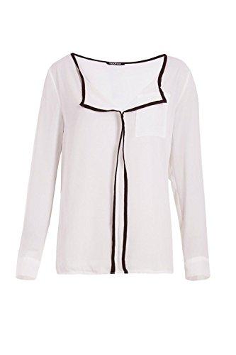 Femmes blanc Karina Contrast Trim Shirt Blanc