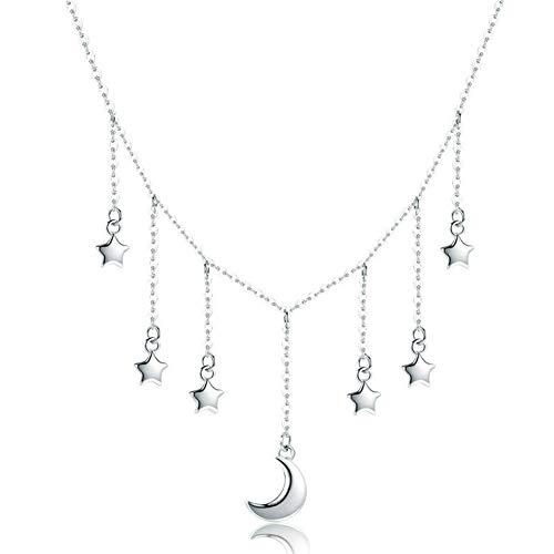 HSUMING Stern Mond Halskette für Frauen, einfache 925 Sterling Silber Quaste Halskette Mode Schmuck, Geschenk für Sie