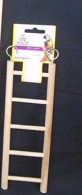 Happy Pet Wooden Ladder Bird Budgie Canary Caged Bird Small Bird Ladder Perch (5 Rung Ladder) 1