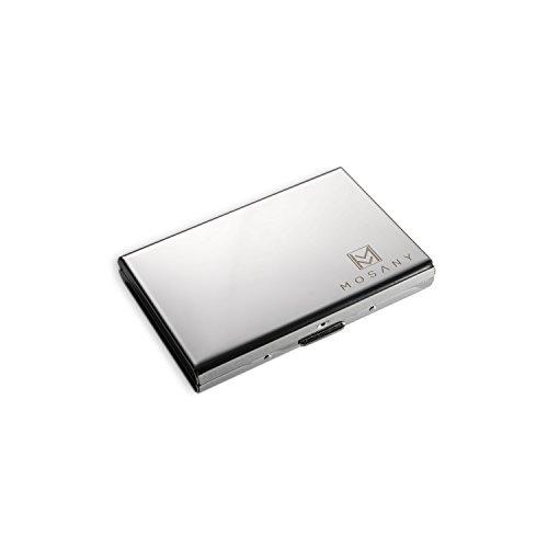 MOSANY | Kreditkartenetui mit MultiTool-Card | aus hochwertigem Edelstahl | für bis zu 6 Karten | RFID & NFC Schutz | Damen & Herren (Münze Halter Platte)