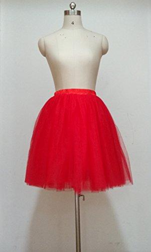 SCFL Donna Tutu Gonna Petticoat Underskirt Balletto Gonna Slip Half Rosso
