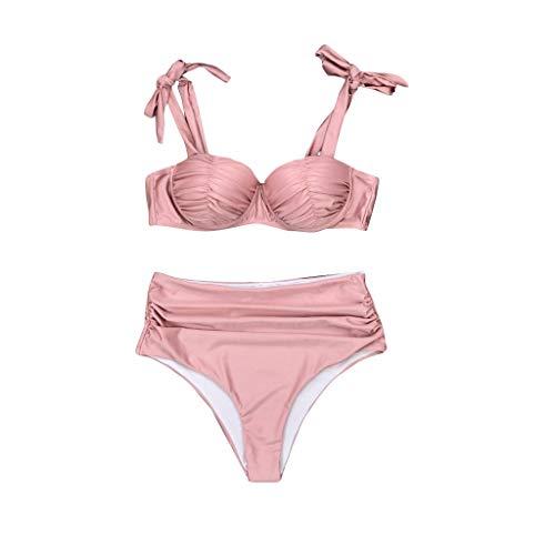 Aoogo Damen Bademode Push Up Bikini Set Zweiteilige Badeanzug Strandkleidung Crossover Neckholder Triangel Oberteil Bandeau Strandmode Sport Split Blumen Bikini