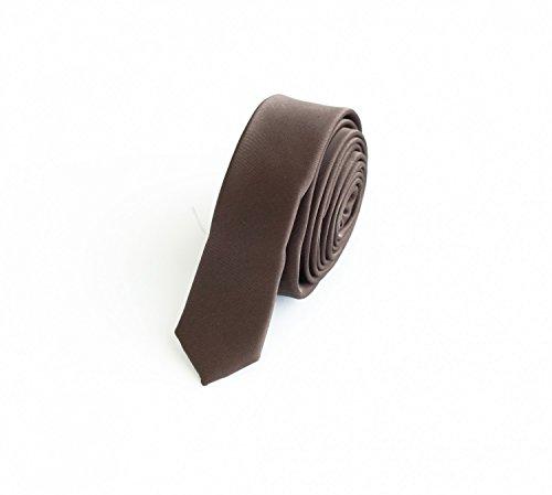 Fabio Farini Krawatte 3cm braun unifarben, einfarbig, Schlips, Binder, schmale Krawatten