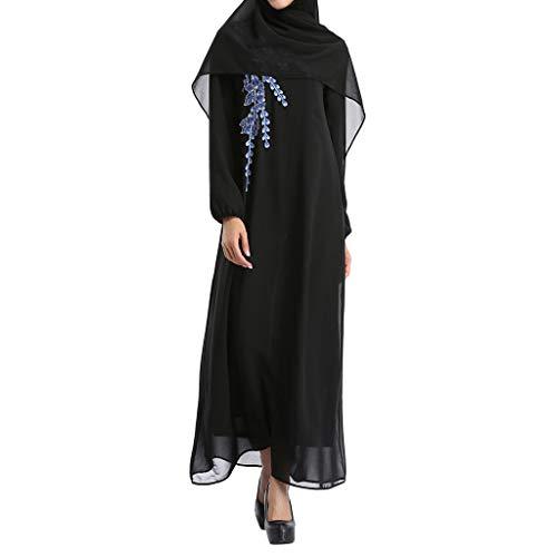 AIni Damen Muslimische Kleider,Elegante Abendkleid Hochzeit Abaya Festlich Partykleid Muslimischen Blumen Stickerei öffnen Lange Strickjacke Maxikleid Kimono Abaya Kaftan (L,Blau)