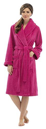 Robe de chambre avec ceinture - longue - polaire - femme Plain Fuchsia Pink Robe