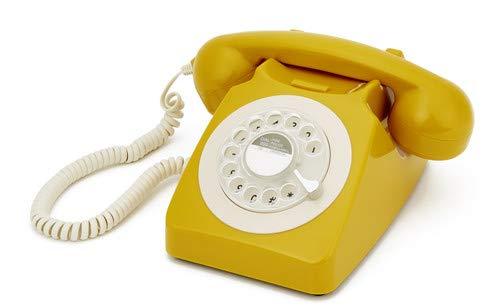 GPO 746ROTARYMUS Klassisches Telefon im 70er Jahre Design Gelb Rotary Dial Switch
