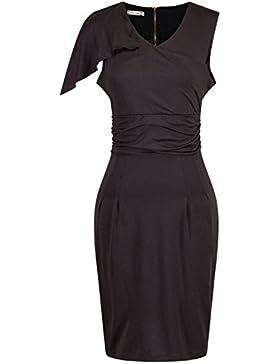 Verano Vacaciones Mujer Elegante Colores Lisos Dress Bodycon Lápiz Vestidos de Cóctel Partido Club Fashion Cuello...