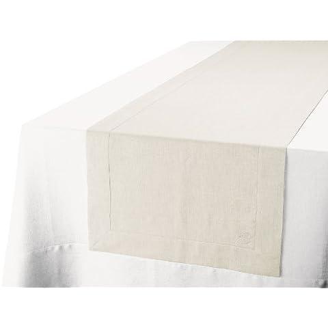 Blanc Cerise 600501 - Runner da tavola in lino ricamato, beige - Adesivo Runner
