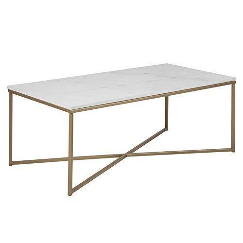 DES XL Couchtisch Selma Wohnzimmertisch Tischplatte in weißer Marmor-Optik foliert Tisch Gestell Metall Messingfarben hell Sofatisch 120x60cm Neu #15215 - Marmor Tischplatte