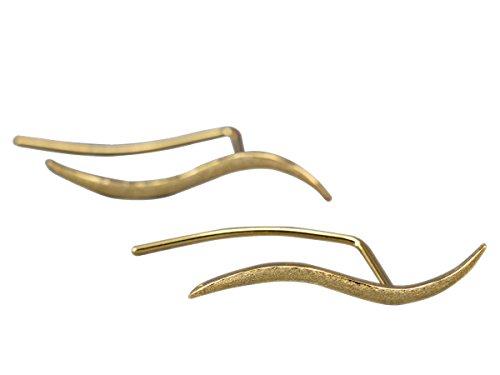 NicoWerk Silber Ohrstecker Vergoldet Golden Wellen Kurve Matt Schlicht Damen 925 Ohrringe Stecker Ohrschmuck Geschenk Sterling SOS210