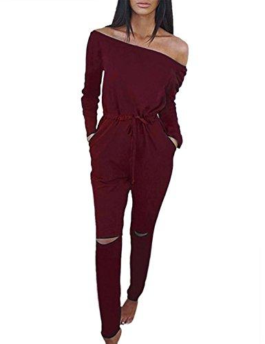 Minetom Damen Lässig Langarm Hosenanzug Jumpsuits Elegant Trägerlos Overall Strand Partei Spielanzug Lange Hose Weinrot DE (Kostüme Superman Latex)
