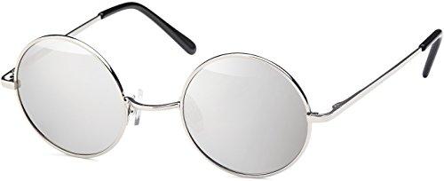 Balinco Sonnenbrille mit runden Gläsern und schmalem Metall Gestell, Bügel mit Federscharnier (Silver-Silver)